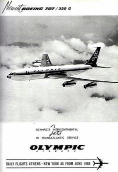 Olympic Airways Boeing B707-320, to New York, 1966