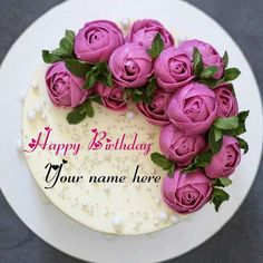 Butter Cream Rose Flower Birthday Cake With Name