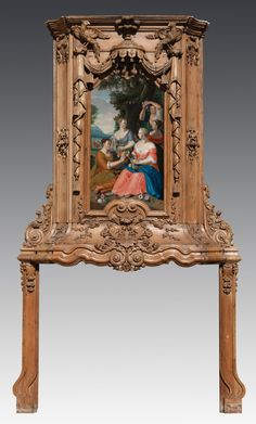 Room paneling & mantlepiece designed by Daniel Marot :: Late 17th / early 18th century, designed by Daniel Marot, of unpainted pine, with inset neo-classical oil on canvas painting depicting five women in a countryside with flowers -  est: $10,000/15,000
