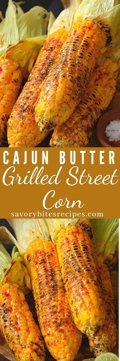 Delicious buttery grilled street corn is so easy to make and very delicious for summer season. Spicy and Buttery Cajun spiced grilled street corn. Side Dish Recipes, Vegetable Recipes, Vegetarian Recipes, Vegetarian Grilling, Healthy Grilling, Vegan Meals, Recipes Dinner, Cajun Dishes, Food Dishes