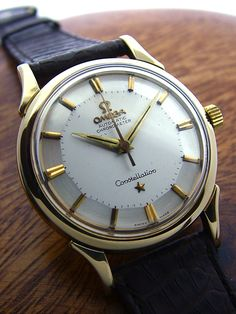 1950's Vintage Omega Constellation wristwatch with gorgeous pie-pan dial. (sold) See more at www.finesthourvintage.com