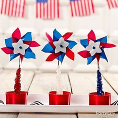 Rock candy + pinwheel = unique 4th of July party favors!
