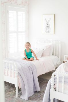 In the Shared Toddler Room with Meghan Basinger Shared Girls Room Basinger Meghan room shared toddler Twin Girl Bedrooms, Big Girl Rooms, Girls Bedroom, Bedroom Decor, Girls Twin Bed, Bedroom Furniture, Toddler Rooms, Girl Toddler, Toddler Bedding Girl