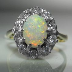 #Vintage #Opal And #Diamond #Cluster #Ring €1,250 #Engagement #Jewelry #The #Antiques #Room #Galway #Ireland
