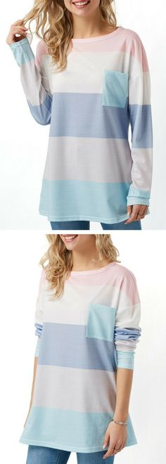 Color Block Chest Pocket Long Sleeve T Shirt