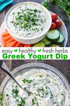 Greek Yogurt Dip is an all-natural, creamy, flavorful dip loaded with non-fat Greek yogurt and fresh herbs for a healthy way to enjoy fresh veggies! Make Greek Yogurt, Greek Yogurt Dips, Greek Yogurt Dressing, Greek Yogurt Recipes, Kids Yogurt, Plain Yogurt, Healthy Dips, Healthy Recipes, Thm Recipes