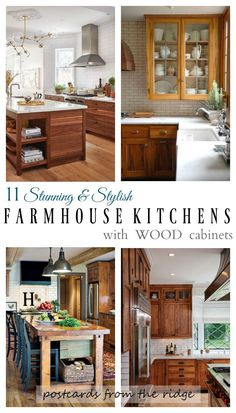 Farmhouse kitchens with wood cabinets