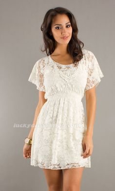 White Scoop Short/Mini Women Dress With Lace And Short Sleeve (MF6269)