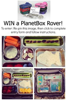 """Join us in our Pinterest contest to celebrate back to school lunches! Win your own PlanetBox! All you have to do is: 1. Re-pin this image and description, 2. Click this image to complete the giveaway widget, 3. Create a Pinterest board titled """"Lunch with PlanetBox"""" and pin images that inspire you to create healthy lunches tagging #LunchWithPlanetBox in the description. Contest ends 8/26/14. Open to US residents only."""