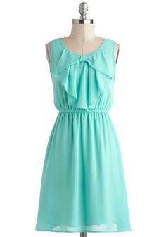 Every Now and Femme Dress - Mint, Solid, Bows, Daytime Party, Pastel, A-line, Sleeveless, Spring, Mid-length, Casual...