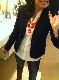 white shirt, black blazer, and brown boots.  LOVE it!