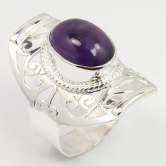 Genuine AMETHYST Gemstone 925 Sterling Silver Handcarfted Fashion Ring Size US 9 #SunriseJewellers #Fashion