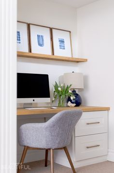 White Home Office Ideas To Make Your Life Easier; home office idea;Home Office Organization Tips; chic home office. Desk Nook, Office Nook, Home Office Space, Home Office Desks, Office Furniture, Office Decor, Office Ideas, Office Setup, Office Designs