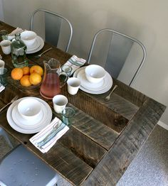 Reclaimed Barnwood Kitchen Table by EverettCo on Scoutmob Shoppe. Sweet natural grey color on this heart pine and red oak table, made from north Georgia barn wood.