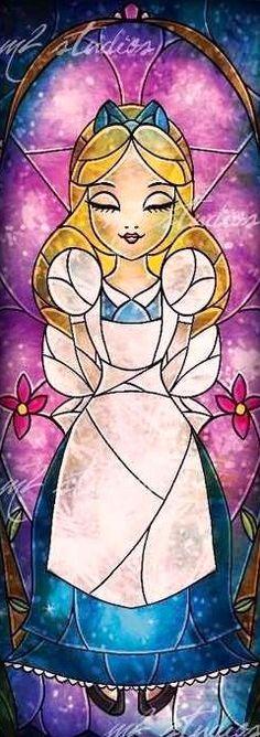 Alice in Wonderland stained glass art via www.Facebook.com/DisneylandForMisfits