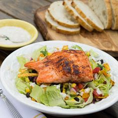 Salmon Caesar Salad ~ Healthy, wealthy and wise!  Maybe Freddy will make this one night.  I know that I won't!