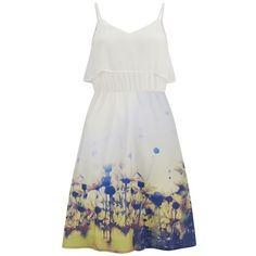 Vero Moda Women's Daisy Floral Dress - Yellow Daisy ($28) ❤ liked on Polyvore featuring dresses, multi, midi skater skirt, yellow skater skirt, summer dresses, white summer dresses and white shift dress