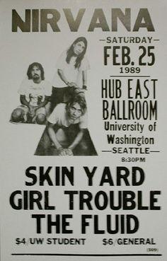 Nirvana, Skin Yard concert poster at University of Washington in Seattle.
