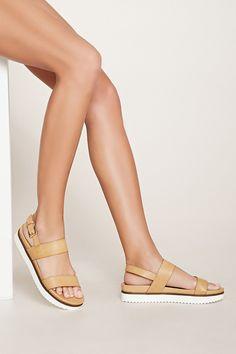 Faux Leather Flatform Sandals | Forever 21 - 2000153664