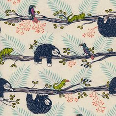 Sloth and Toucan Jungle Fabric - Honeymoon by Sarah Watts for Cotton and Steel - Lazy Day Neutral/Blue - Fabric By The Half Yard - LIGHT/MEDIUM