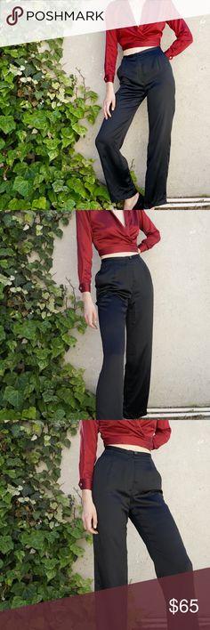44e442ab87 Black silk high waisted trousers Black 100% silk high waisted trousers with  wide leg.