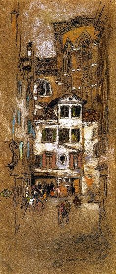 """""""Under the Frari,"""" James Abbott McNeill Whistler, chalk and pastel on paper, x Private collection. Lovely use of different paper - gives an entirely different sense of the image.(these brown paper ones could be same artist? Chalk Pastel Art, Pastel Artwork, Chalk Pastels, Soft Pastels, James Abbott Mcneill Whistler, Art Texture, Art Drawings Beautiful, Building Art, Inspirational Artwork"""