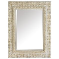 Even we have a serious side sometimes. Take the stately Ivory Embossed Mirror—a formidable piece in the classic French style. Large, ornately sculpted wooden frame features an antique ivory finish, mitered corners and double-stepped moulding. Mirror is beveled. A piece like this is no laughing matter. Except when your pals think you paid a fortune for it. Now that's funny.
