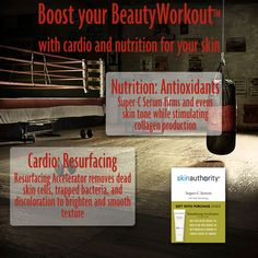 What is a BeautyWorkout™? It is all the goal-setting, products, daily routines, and coaching you need to live a Healthy Skin Lifestyle. Our Certified Skin Authority Skin Coaches can create a personalized BeautyWorkout tailored to your needs and goals. Jumpstart your skin with resurfacing and antioxidants as cardio and nutrition with our gift with purchase. #skinauthority #coaching #beauty #workout #cardio #nutrition #resurfacing #vitaminc #lifestyle #healthy