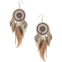 Brown feather/leaf earrings ($15) ❤ liked on Polyvore