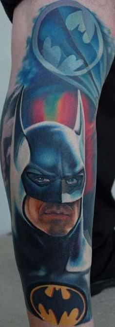 Coloured Batman Tatoo On Arm ~ Arm Tattoo Ideas Girly Tattoos, Love Tattoos, Body Art Tattoos, Tattoos For Guys, Tatoos, Nerd Tattoos, Crazy Tattoos, Portrait Tattoos, Cartoon Tattoos
