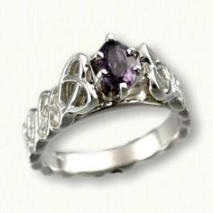 14kt White Gold Celtic 'Amanda' Style Engagement Ring set with a .59ct oval genuine purple sapphire   Available with any stone