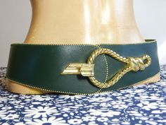 Wide adjustable dark green leather belt with big equestrian style metal  rope loop buckle - French f3806bfa2cd