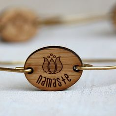 Namaste bracelet yoga jewelry bangle by TinyWhaleStudio on Etsy, $24.00 Tiny Whale Studio