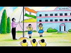 Easy Drawing of Independence Day Celebrations at School House Drawing For Kids, Basic Drawing For Kids, Independence Day Drawing, Independence Day Images, Happy Independence, Oil Pastel Colours, Oil Pastel Art, Easy Painting For Kids, Army Drawing