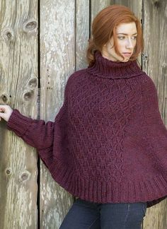 Free Knitting Pattern for Galilee Poncho - This poncho features a wickerwork twisted stitch panel in front and sleeve cuffs to keep your arms warm. Sizes Small (Medium, Large, X-Large, Designed by Berroco Design Team. Quick knit in bulky yarn. Poncho Knitting Patterns, Knitted Poncho, Knitted Shawls, Knit Patterns, Free Knitting, Free Crochet, Knit Crochet, Crochet Poncho With Sleeves, Alpaca Poncho