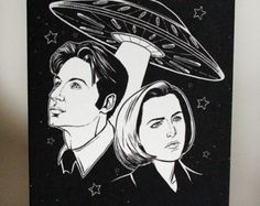Mulder and Scully Tattoo Flash by ParlorTattooPrints on Etsy