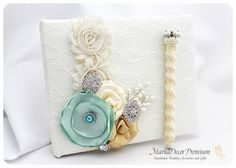 READY TO SHIP Wedding Lace Guest Book Custom by MarkadecorPremium