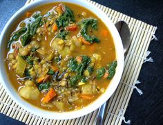 THE SIMPLE VEGANISTA: Curry Lentil & Greens Soup ... use sweet potatoes for Standard Process Cleanse