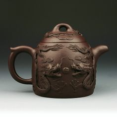 Carved double dragon purple clay Yixing teapot