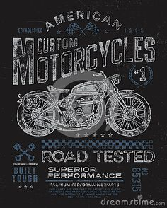 Vintage Motorcycle T-shirt Graphic by Krookedeye, via Dreamstime