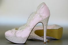 Wedding Shoes -- Paradise Pink Platform Wedding Shoes with Silver Lace Overlay and Silver Rhinestone Covered Heels and Platform