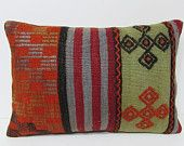 coral pillow cover 16X24 ethnic bedding bright pillow case orange lumbar pillow bohemian cushion cover wool cushion kilim pillow sham 28531