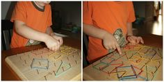 geo board homemade examining shapes
