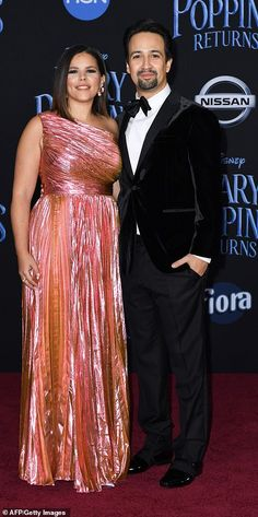 Love that shimmer: The Hamilton creator was accompanied by his wife Vanessa Nadal, who glo. Vanessa Nadal, Lin Manuel Miranda, Emily Blunt, Old Actress, Red Carpet Fashion, Absolutely Stunning, White Dress, Celebs, Actresses