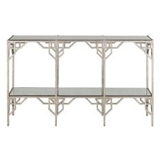 Breslin Console Table design by Currey & Company ($2,990) ❤ liked on Polyvore featuring home, furniture, tables, accent tables, mirrored furniture, wrought iron console table, mirror accent table, currey & company y mirrored console table