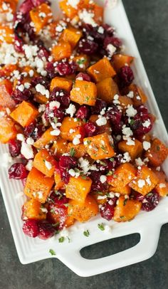 Honey Roasted Butternut Squash with Cranberries and Feta (Joel: less honey sub goat cheese for feta)