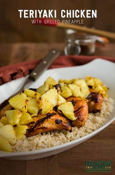 Grilled chicken with a teriyaki marinade and grilled pineapple  delicious!