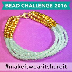 For Day 4 of our 30 Day Bead Challenge we would love for you to use Czech Fire Polished Beads in your designs! Lindsay made this trendy simple strung multi-strand  bracelet with fire polished beads in blue/green and gold! Flaunt your own Bead Challenge jewelry with pics and share on social media using #MAKEITWEARITSHARE!
