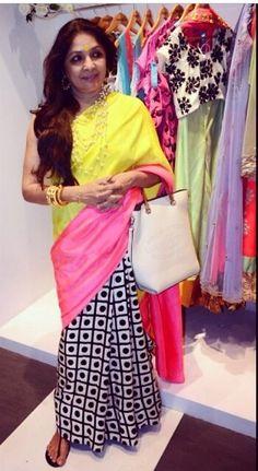 Neena Gupta wearing saari by her designer daughter Mãsåbä Gupta! Simply loved it!