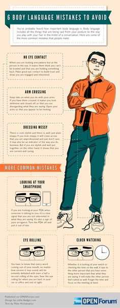 6 Body language mistakes to avoid #infografia #infographic